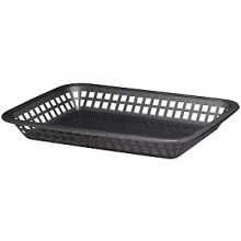"10 3/4"" x 7 3/4"" x 1 1/2"" Black Rectangular Platter Basket"
