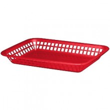 "10 3/4"" x 7 3/4"" x 1 1/2"" Red Rectangular Platter Basket"