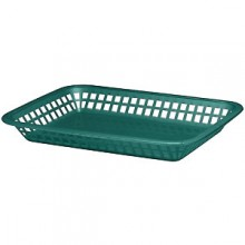"10 3/4"" x 7 3/4"" x 1 1/2"" Forest Green Rectangular Platter Basket"