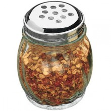 Glass Cheese/Hot Pepper Shaker - Perforated Lid