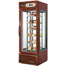 "23 Cu. Ft. 78 1/4"" Height Four-Sided Glass End Dessert Merchandiser w/ Revolving Shelves"