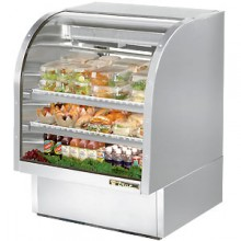 """36 1/4"""" W 17 Cubic Ft Stainless Steel Curved Glass Deli Case"""