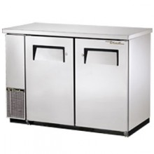 """49 1/8"""" Wide Narrow Depth Stainless Steel Counter top Solid Door Back Bar Cooler - Stainless"""
