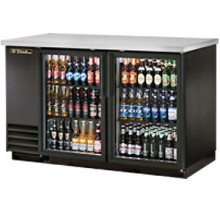 "59 1/8"" Wide Glass Door Black Back Bar Cooler"
