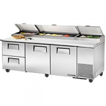 "93 1/4"" W Two Door Two Drawer Pizza Preparation Table"