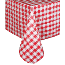 "Winco 52"" x 52"" Checkered Print PVC Tablecloths"